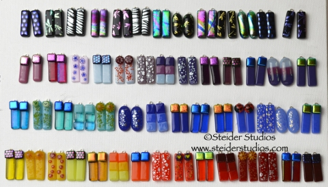 Steider Studios:  Rainbow of Earrings, Collection of my Shorter Styles.