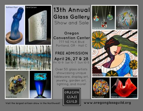 Oregon Glass Guild, Glass Gallery postcard front  2013