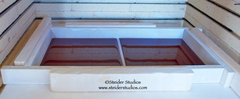 Steider Studios.4.Red Panels fired in kiln