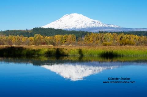 Steider Studios:  Mt. Adams over Trout Lake.  10.18.13
