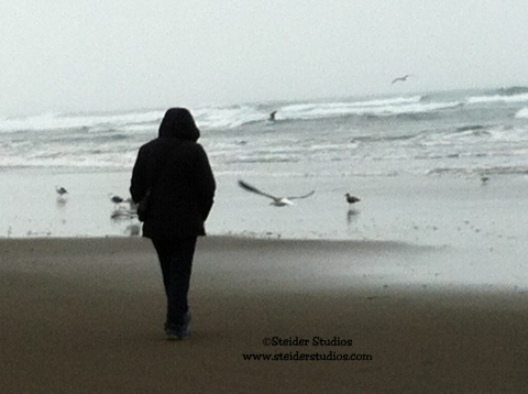 Steider Studios:  Walking on Beach